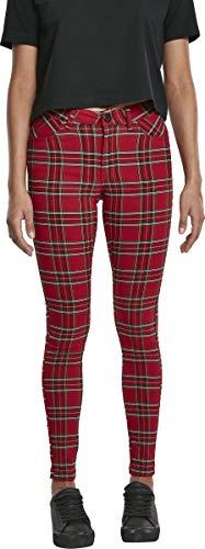 Urban Classics Damen Ladies Skinny Tartan Pants Hose, Mehrfarbig (Red/Blk 00200), W(Herstellergröße: 28)