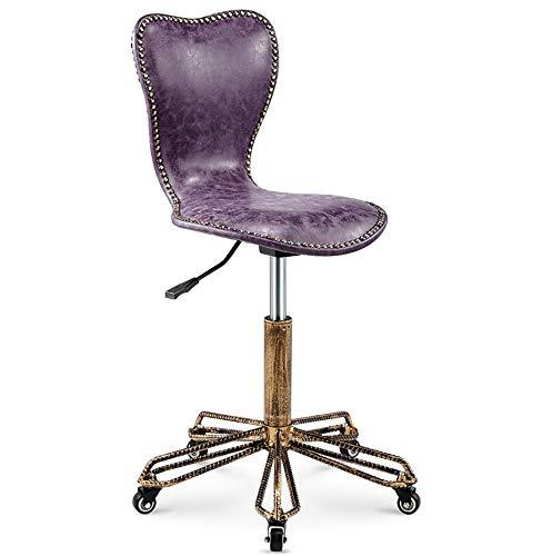 WCURT, bar Beauty Nail Art Friseur Retro schminktisch hochhocker hebestuhl, höhenverstellbarer 360 ° drehstuhl, ergonomischer Stuhl, braun -