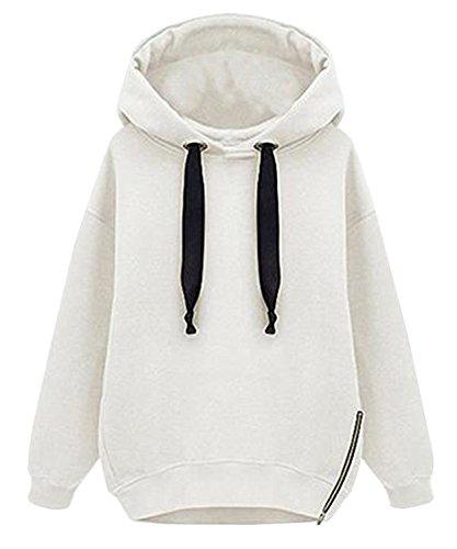 Minetom Donne Autunno Inverno Sweatshirts Moda Felpe Con Cappuccio Manica Lunga Hoodied Giacche Cappotti Bianco IT 42