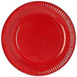 PAPSTAR 11977 50 - Plato de cartón (Redondo, diámetro de 23cm), Color Rojo