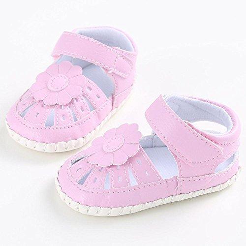 Babyschuhe Longra Baby Mädchen PU Leder Schuhe Anti-Rutsch weiche Sohle Kleinkind Lauflernschuhe Krippeschuhe Bootschuhe (0 ~ 18 Monate) Pink