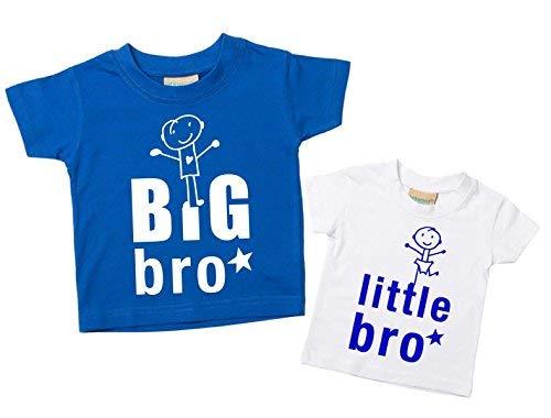 Bro Kleiner Bro T-Shirt Set Bruder T-Shirt Brüder Baby Kleinkind Kinder Blau oder Rot 0-6 Monate bis 14-15 Jahre Baby Schwester Geschenk - Big 0
