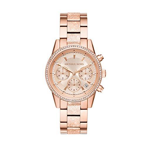 Michael Kors Damen Chronograph Quarz Uhr mit Edelstahl Armband MK6598