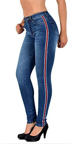 d36f27a0315e1d ESRA Damen Skinny Jeans High Waist mit Seitenstreifen SkinnyJeans mit  Streifen Hoher Bund bis Übergröße # J330