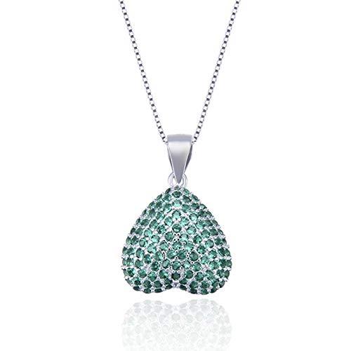 AmDxD 925 Sterling Silber Damen Halskette Herz Form Anhänger Damenkette Silberkette mit Zirkonia - Blau