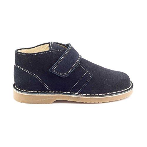 Boni Marius - Chaussures enfant cuir scratch Bleu Marine