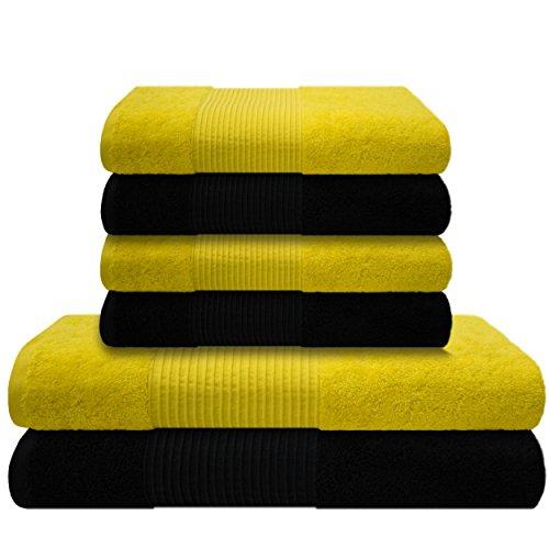 liness-6-tlg-handtcher-set-gelb-schwarz-4-x-handtuch-50x100-cm-2-duschtcher-badetcher-70x140-cm-hand