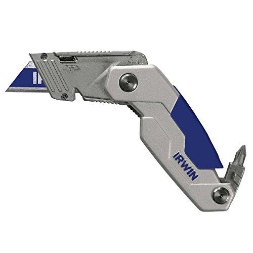 Irwin 1888439 Couteau pliant en aluminium et plastique fk250 avec lame bi-métal, Argent/Bleu