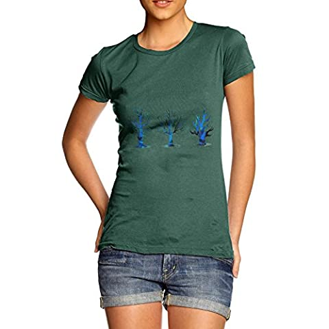Twisted Envy Women's Spooky Trees Cotton Bottle Green T-Shirt Small