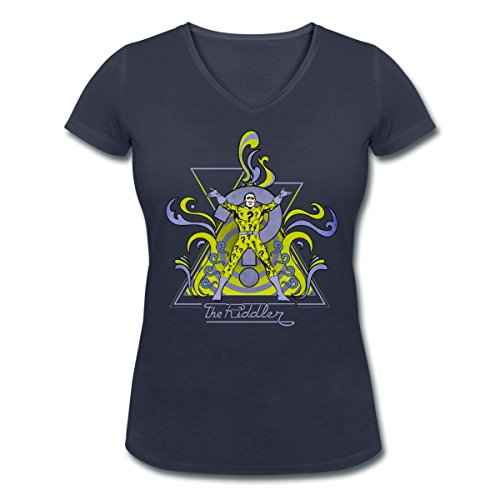 DC Comics Originals Le Sphinx The Riddler T-shirt col V Femme de Spreadshirt®‎ Bleu Marine