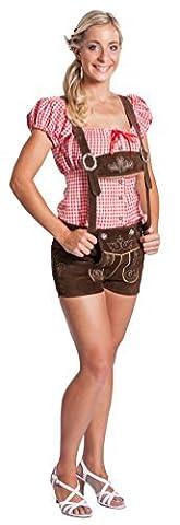 Damen Trachten Lederhose kurz mit Hosenträgern - Original FROHSINN dunkelbraun (40)