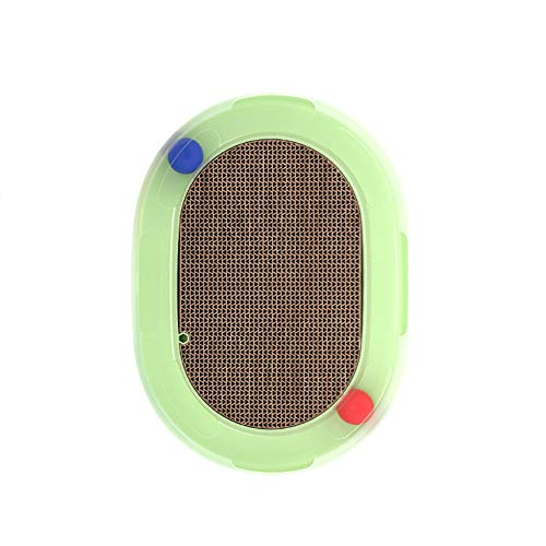 strimusimak Oval Kitten Cat Scratch Pad Plate Rotation Ball Spring Mouse Interactive Toy-Green