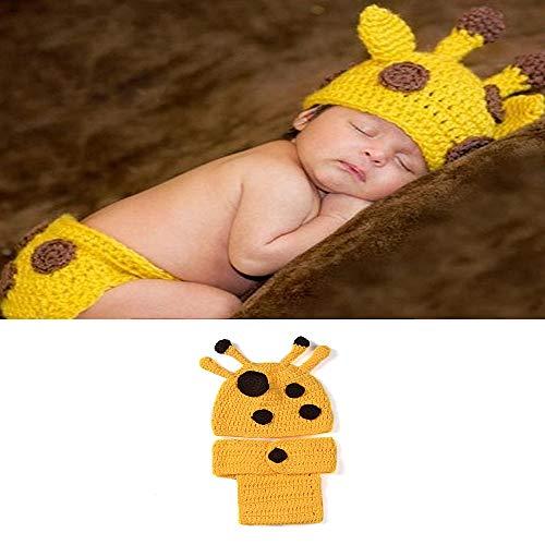 NROCF Handgemachte Baby Kinder Häkeln, Giraffe Kostüm, Baby Kleidung Outfit Foto Requisiten 3-12 Monate (Neugeborene Giraffe Kostüm)