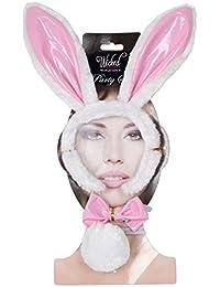 Orejas de conejo Fancy Dress Party Juego de accesorios de piel sintética blanca de la pajarita de la cola de Pascua