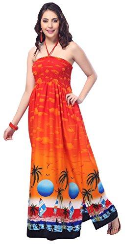 La-Leela-likre-suave-3-en-1-tirantes-partido-cuello-falda-las-mujeres-ms-el-tamao-playa-bandeaux-hawaiano-traje-bao-bikini-encubrir-loungewear-tubo-largo-naranja-las-seoras