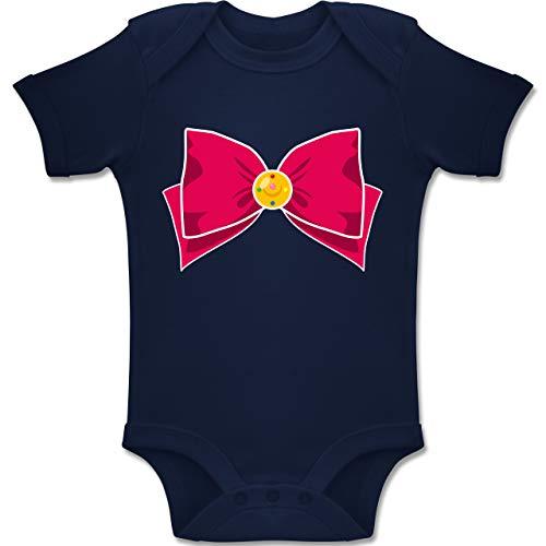 und Fasching Baby - Superheld Manga Moon Kostüm - 3-6 Monate - Navy Blau - BZ10 - Baby Body Kurzarm Jungen Mädchen ()