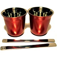 Nespresso Pixie Espresso Decaffeinato 2 Tazas hecho de metal - rojo
