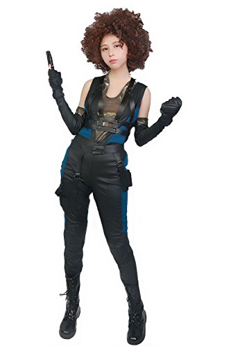 Xcoser Halloween Domino Kostüm Damen Cosplay PU Leder Outfit Zentail mit Gürtel Zubehör Film Verrücktes Kleid Kleidung 2018
