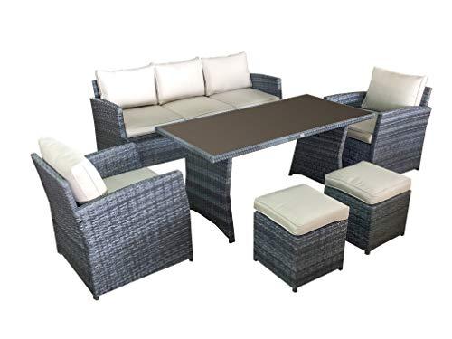 Jet-Line Gartenmöbel Loungemöbel Havanna in grau Gartenset Essgruppe Lounge Tisch Sessel Garten Terasse Balkon Möbel Polyrattan