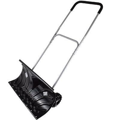 Agora-Tec® Schneeschieber MOBILE - fahrbar mit extra-breiten Kunststoffblatt von 66 cm, schwenkbarer Doppel-Stahlstiel mit Kunststoffüberzug