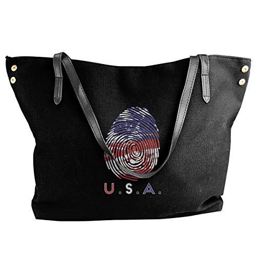 Jiaojiaozhe USA Fingerprint Women's Classic Shoulder Portable Big Tote Handbag Work Canvas Bag