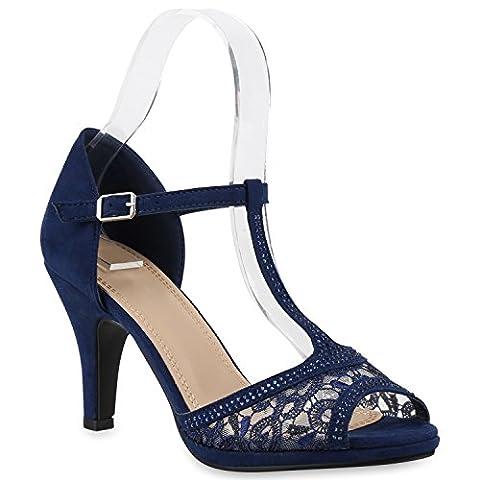 Damen Riemchensandaletten Sandaletten Stilettos High Heels Abiball Hochzeit Braut Schuhe 139686 Dunkelblau Spitze T-Strap 37 | Flandell®