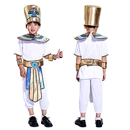 alloween Kostüme Nationalität Kostüm Pharao Cleopatra Ägyptische Show Kinder Prinz Prinzessin Kostüm-Junge-S (für 105-120cm) ()