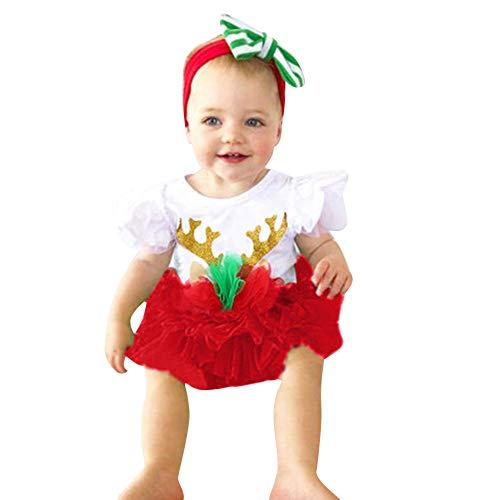Togelei Baby Sleeveless Weihnachten Geweih gedruckt Spitze + Mesh Tutu Set Baby Mädchen Kurzarm Weihnachten Geweih Jumpsuit Oansatz Sleeveless Cotton Fashion Kinder Kleidung