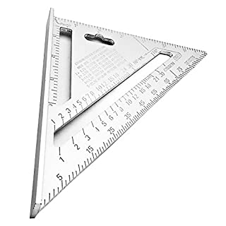 Huatuo® 7inch Silver Aluminum Alloy Speed Square Roofing Triangle Angle Protractor Try Square Carpenter's Measuring Layout Tool