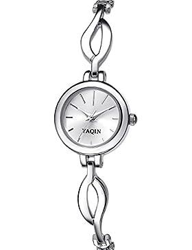 INWET Mode Quarz Armbanduhr für Damen,Silber Zifferblatt Analoge Anzeigen,Edelstahl Armband