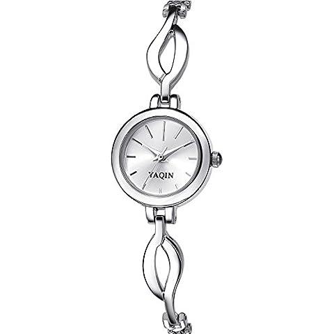 Inwet Elegante Mujer Reloj Analógico de Cuarzo, Plateado Analógico Dial, Correa de Acero Inoxidable