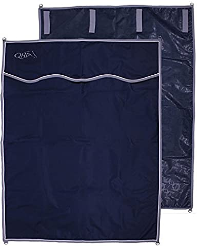 QHP Boxen-Vorhang Stall-Vorhang 4 Klettbänder und 4 D-Ringe navy 140 x 180 cm