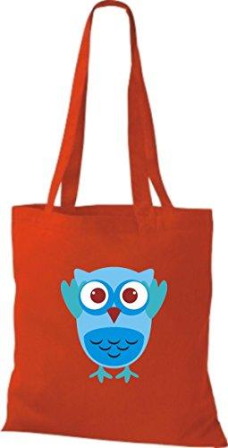 ShirtInStyle Jute Stoffbeutel Bunte Eule niedliche Tragetasche mit Punkte Owl Retro diverse Farbe, rot