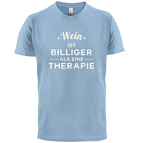 Wein ist billiger als eine Therapie - Herren T-Shirt - 13 Farben Himmelblau