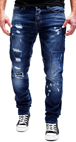 Merish Jeans Destroyed Herren Used-Look Denim Hose Chino Pants Dunkelblau Dark NEU 2082 32W / 33L,   Dunkelblau