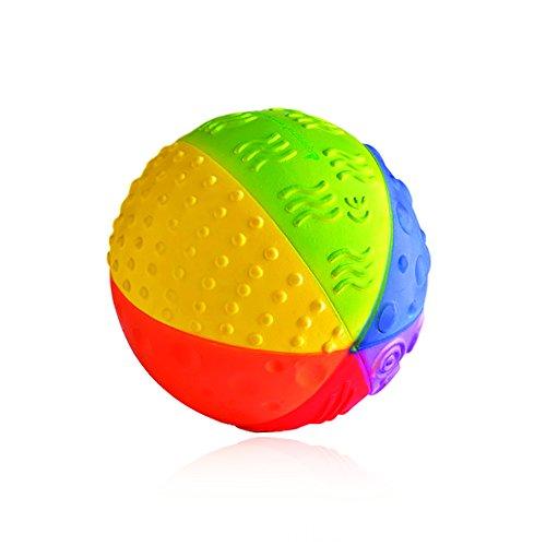 CaaOcho Baby - Bio Motorikspielzeug - Sensory Ball Regenbogen aus Naturkautchuk - Babyspielzeug Ab 6 Monate - Das Spielzeug Ist Frei Von Chemischen Zusatzstoffen BPA, PVC und Phthalate - 10 cm