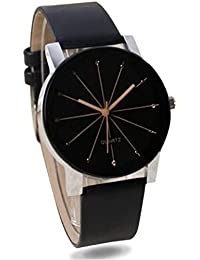 Optrica Mall Mens Black 1 Trendy Analogue Synthetic Leather Wrist Watch W/ Black Round Dial & Strap