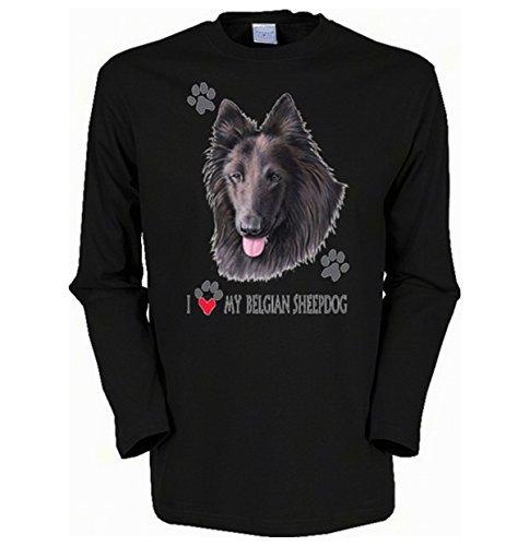 Langarmshirt, Farbe: Schwarz, USA Motiv: Belgischer Schäferhund Schwarz