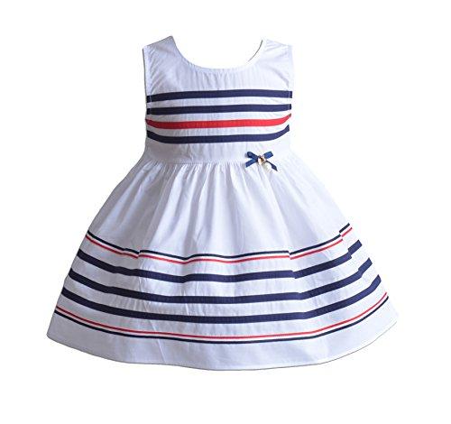 Cinda Mädchen gestreiftes Baumwoll-Sommer-Party kleid Weiß 116-122
