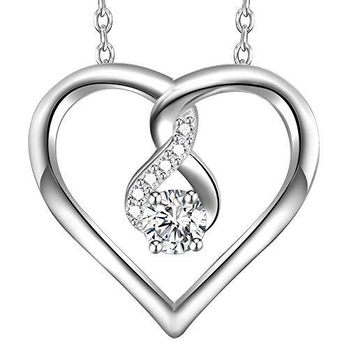 fdd21f776972 LOVORDS Collar Mujer Plata de Ley 925 Colgante Corazón Infinito Regalo  Madre Mamá Novia ...