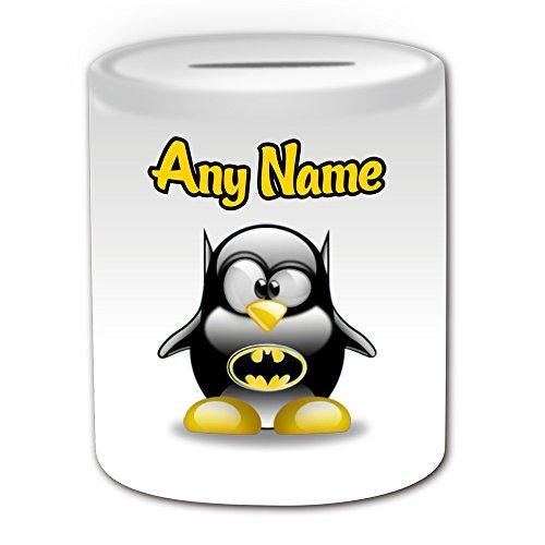 chenk–Bruce Wayne Spardose (Pinguin Film Charakter Design Thema, weiß)–Jeder Name/Nachricht auf Ihre Einzigartiges–Kostüm Film Superhelden Hero Marvel Comics Avengers Batman (Familie Avengers Kostüme)