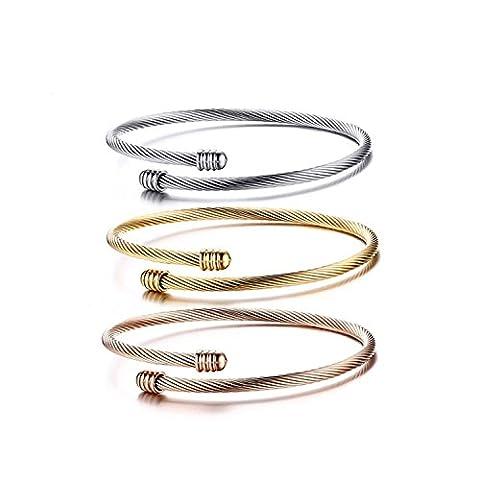 F-Sport 3 Pcs Women Fashion Stainless Steel Bracelet 3mm Width Twisted Cable Cuff Bangle Bracelet Sets Women Bracelet Women Jewelry Make You More Charming