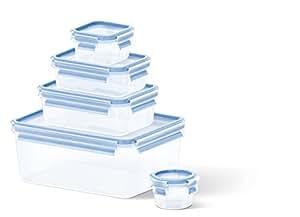 Emsa 508568 5-teiliges Frischhaltedosenset, Verschiedene Größen, Transparent/Blau, Clip & Close