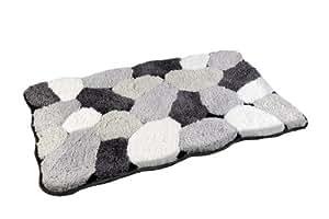 Hochwertiger Designer Badvorleger Badteppich aus Microfaser -Stoneoptik-Maße:50 x 80cm-A779-Grau/Weiß/schwarz