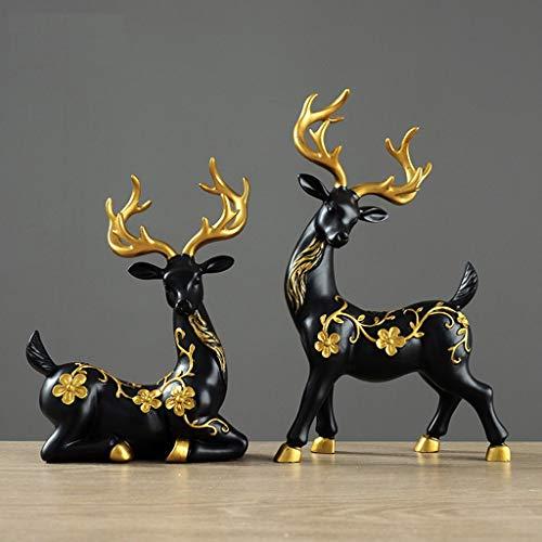 LFOZYS Décoration Artisanat Couple cerf Salon Meuble TV Cave à vin décoration Ornements Accessoires pour la Maison (Color : Black)
