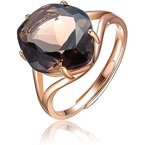 Elegante S925plata de ley laminados y # xFEFF; Anillo incrustaciones natural Asscher Smoky cristal de cuarzo