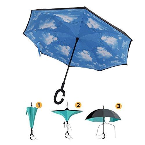 Grefine C Forma Mano libera Inverso Pieghevole Rovesciato Ombrello, Dentro Su A Prova Di Vento UV Raddoppiare Livelli Il Sole L'ombrello (Nube Blu)
