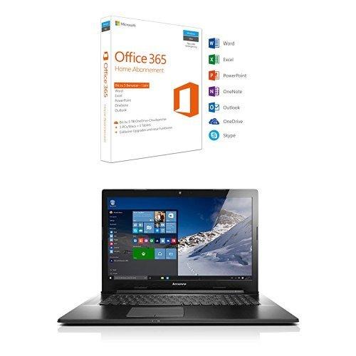 Preisvergleich Produktbild Microsoft Office 365 Home 5PCs/MACs - 1 Jahresabonnement + Lenovo G70-80 43,94cm (17,3 Zoll HD+ Glare) Multimedia Notebook