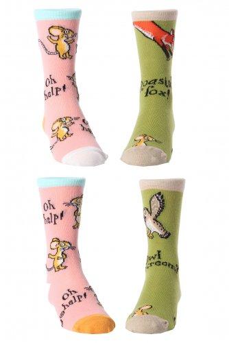 Gruffalo juego de 2 pares de calcetines impares - Oh Oh No Ayuda ratón calcetines de color rosa y el búho Helado / asado Fox calcetines verdes Edad 4-6 EUR tamaño 26-30