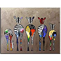 Hianiquaime® Dessin D'ornement Tableau Decoration Mural Peinture à l'huile Impression sur Toile Art Moderne sans Encadrement Zèbres Multicolore 70 * 50cm